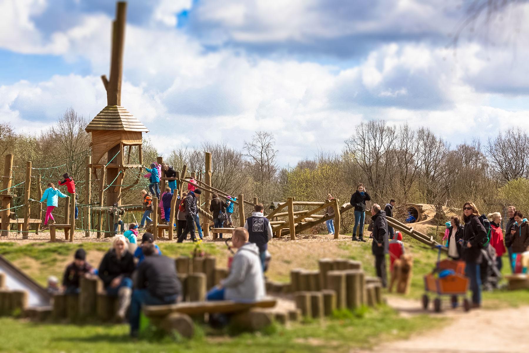 Gebaut wie gewachsen – neuen Holzspielgeräten im Erlebniswald Trappenkamp ist ihre Herkunft direkt anzusehen. Neben neuen Spielgeräten gibt es jetzt neue kleine Fußballplätze und ein Volleyballfeld