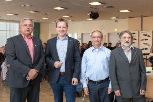 Bornhöved wählte gleich eine Viererspitze für das Bürgermeisteramt. Neben Bornhöveds neuem Bürgermeister Reinhard Wundram von der BBI wurde Sönke Ehlers aus der CDU zum 1. Stellvertreter, Bernd Petersdorf von der BBI zum 2. Stellvertreter und Ralf Demmler aus der SPD zum 3. Stellvertreter gewählt (von links).