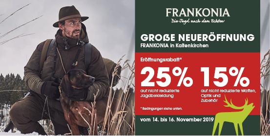 Frankonia kommt nach Kaltenkirchen. Schleswig-Holsteins Jäger und Jägerinnen dürfen sich freuen. Vom 14. bis 16. November lädt der Jagdausrüster zur großen Neueröffnung ein.